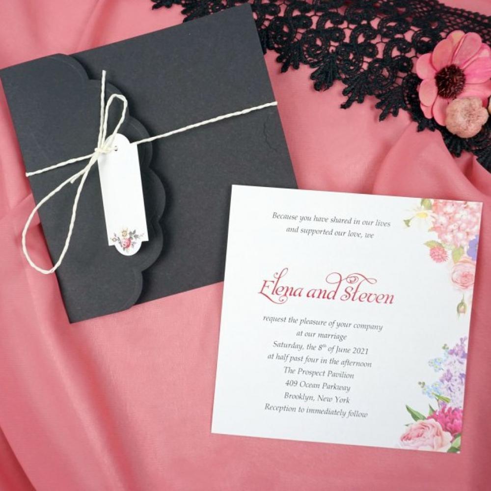 Луксозни покани за сватба с черен плик