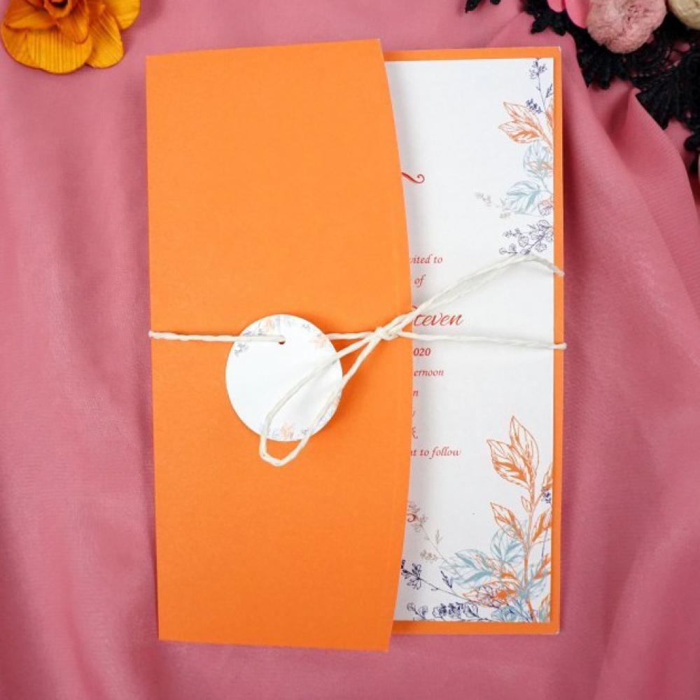 Покани за сватба с плик в оранжево
