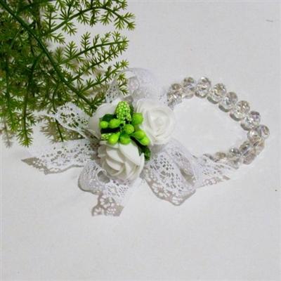 Сватбена гривна с кристали и рози