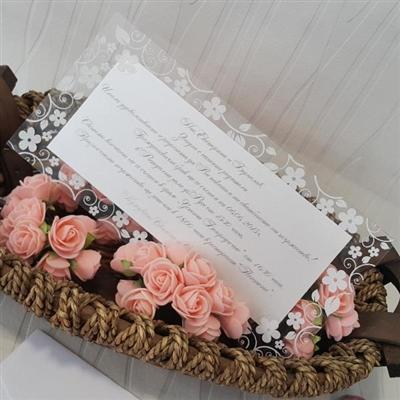 Сватбени покани с прозрачен филм на бели цветя