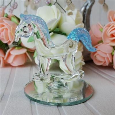 Стъклено конче със синя грива и опашка