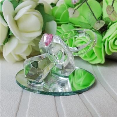 Стъклен биберон с ъс сърце в розово