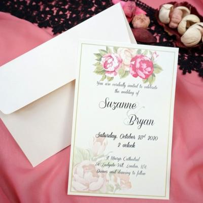 Покана за сватба с принт на цветя