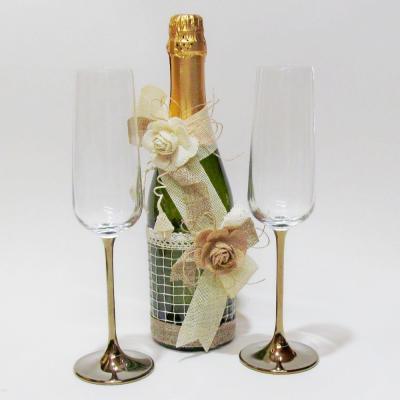 Сватбен комплект чаши и шампанско