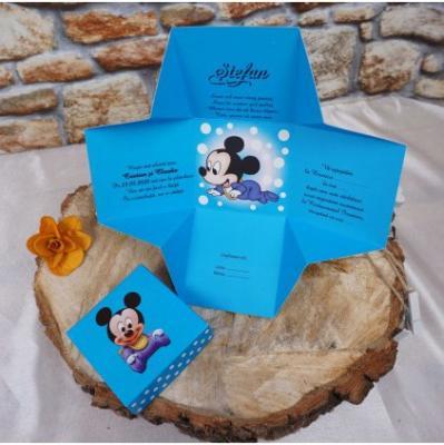 Детска покана  Мики Маус в синьо