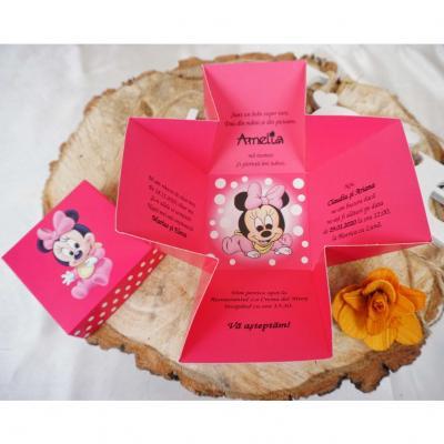 Покана  Мики Маус в розово