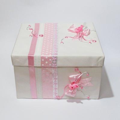 Комплект за кръщене с розови зайчета